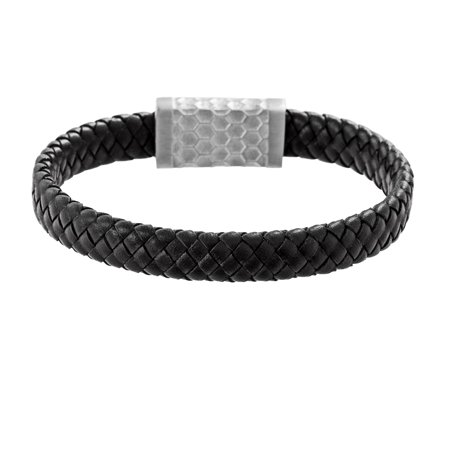 Mens Wide Rectangle Bar Braided Leather Bracelet in Stainless Steel