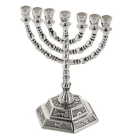 Silver Plated Electric Menorah - Menorah-12 Tribes (7 Branched) (5