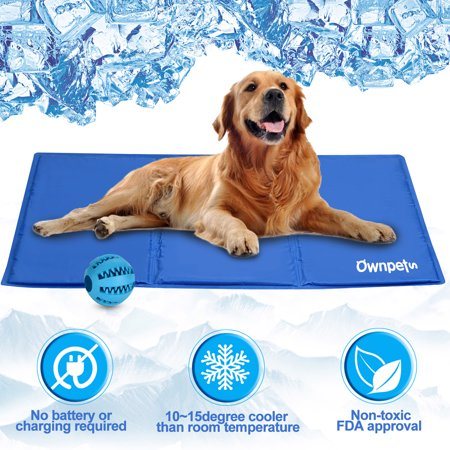 Ownpets Pet Self Cooling Pad Cooling Mat w Pet Toy Ball, Pressure Activated FDA Approved, Size (Best Dog Cooling Pad)