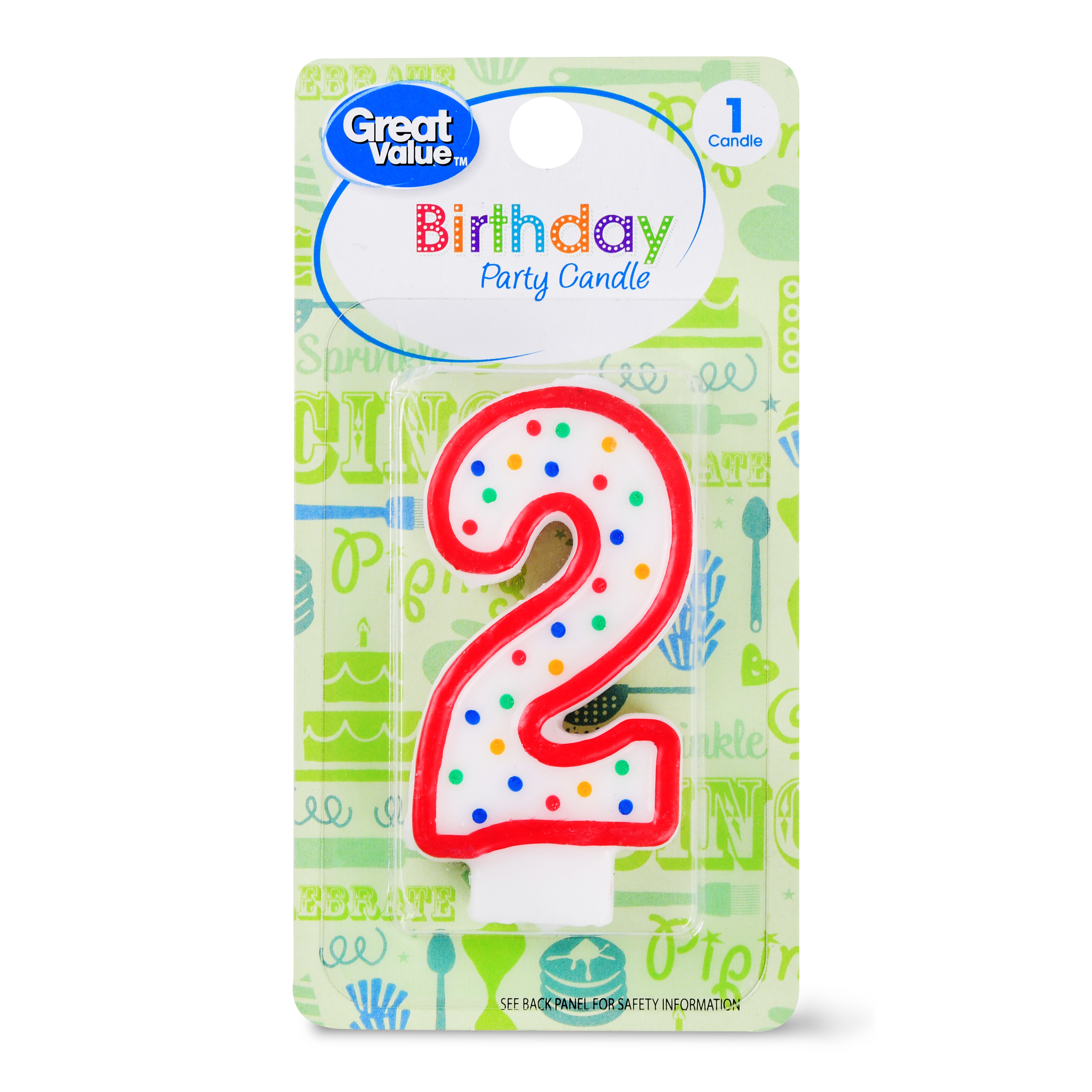 (5 Pack) Great Value Birthday Party Candle, Number 2