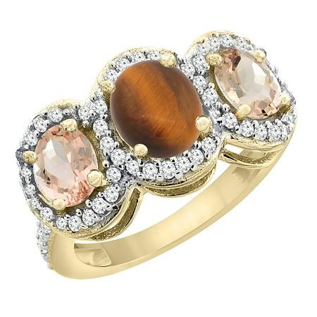 10k Gold Tiger Eye (10K Yellow Gold Natural Tiger Eye & Morganite 3-Stone Ring Oval Diamond Accent, size)