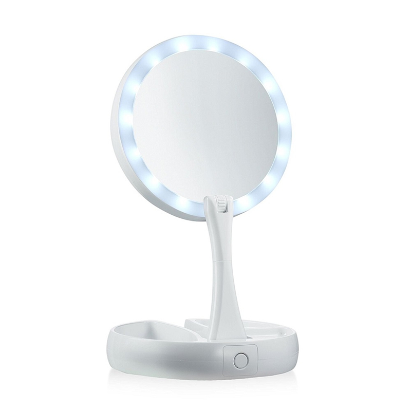 Led Lighted Travel Makeup Mirror 1x 10x Magnification Daylight