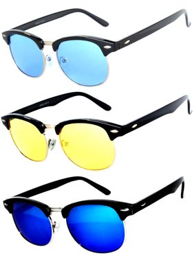e2c57555c9a Product Image Half Frame Black Gold Silver Sunglasses Blue Green Yellow  Mirror GRD Lens Fashion Retro Uv Protection