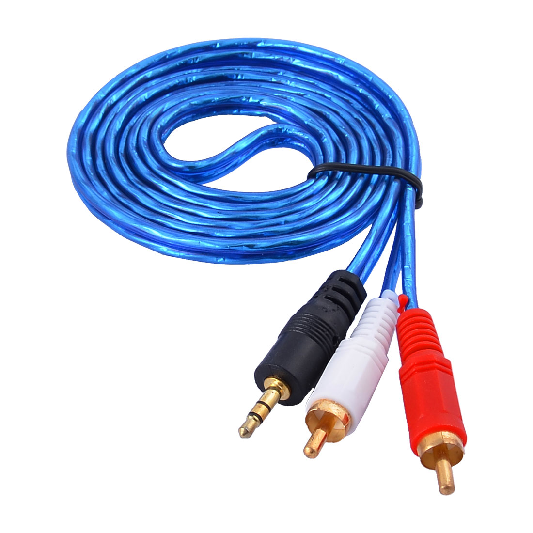 1.5M Long 3.5mm Male to 2 RCA Male Plug Stereo MP3 Player Audio Cable Blue - image 1 of 1