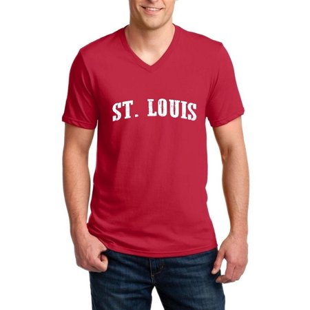 Artix St. Louis MO Missouri Flag Jefferson Kansas Map Tigers Home University of Missouri Ringspun Men V-Neck T-Shirt