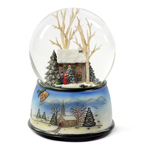 Winter Cottage with Carolers Snow Globe Multi-Colored
