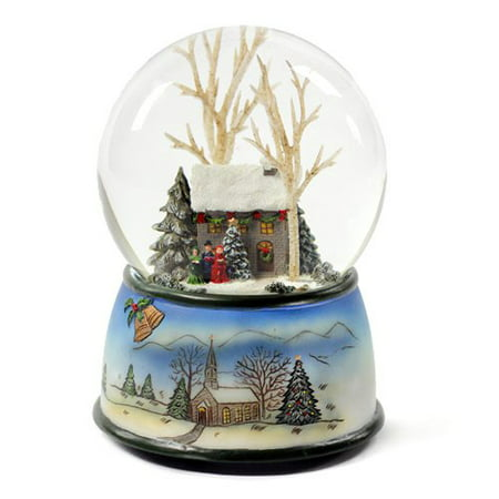 Family Snowglobe - Winter Cottage with Carolers Snow Globe Multi-Colored