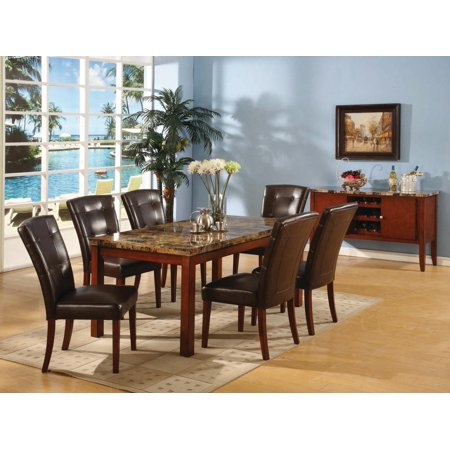 Pilaster Designs 7 PC Set Faux Marble Dining Room Table 6 Faux Leathe