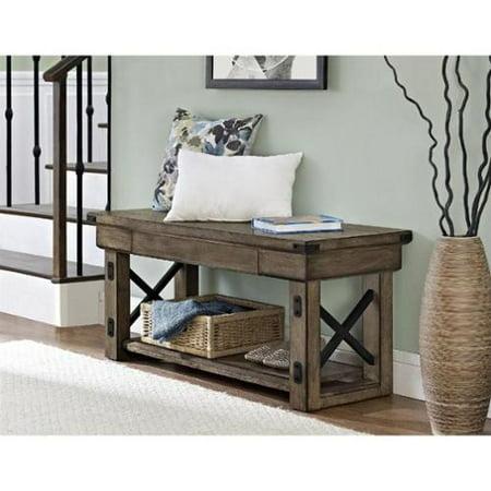 Altra Furniture Wildwood Wood Veneer Entryway Bench In Rustic Gray