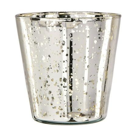 Vintage Mercury Glass Vase and Candle Holder (4-Inch, Jenna Design Cup, Silver) - Decorative Flower - Mercury Vase