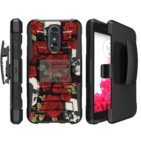 - Clip Case for LG Aristo 2 / Tribute Dynasty / Fortune 2 Clip Combo Case [Holster Case w/ Custom Printed Design] Dual-Layer Design Case w/ Built-in Kickstand for Aristo 2 - Red Rose Calavera
