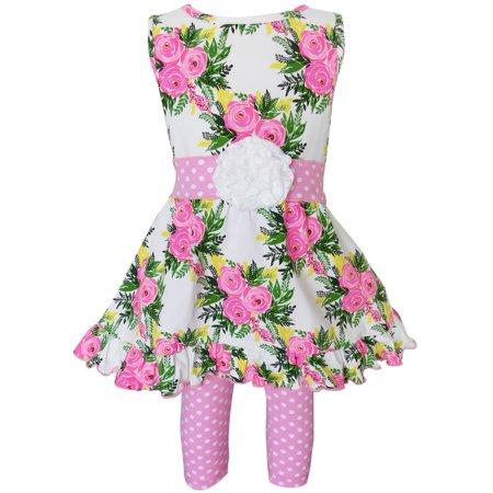 AnnLoren Girls Spring Rose Shabby Floral Dress & Capri Legging Clothing Outfit - Spring Dresses Girls