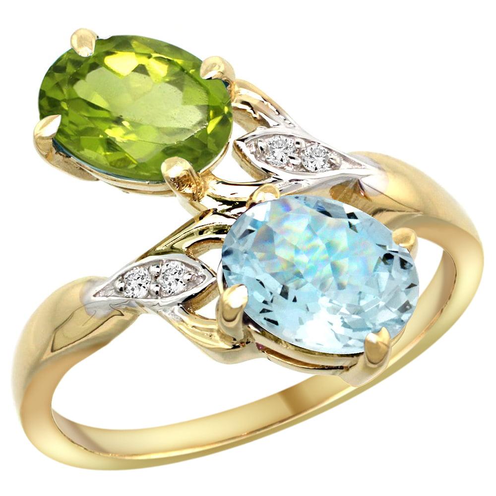 10K Yellow Gold Diamond Natural Peridot & Aquamarine 2-stone Ring Oval 8x6mm, sizes 5 - 10