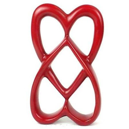 Handcrafted Sculpture (Handcrafted Soapstone Connected Hearts Sculpture, Red - 8 in. )