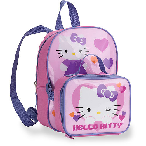 Hello Kitty Hearts Backpack with Snackpack