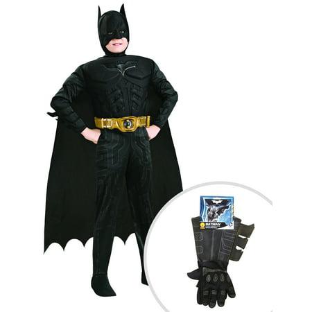 Boy's Deluxe The Dark Knight Batman Muscle Chest Costume and Kid's Batman Gauntlets](Batman Gauntlets For Sale)