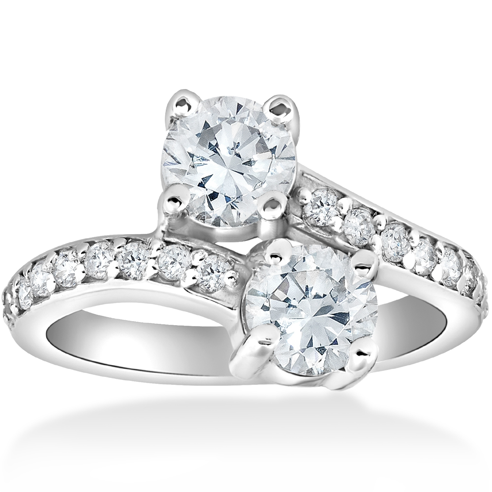 2 ct Diamond Two Stone Forever Us Engagement Anniversary Ring 14k White Gold by Pompeii3