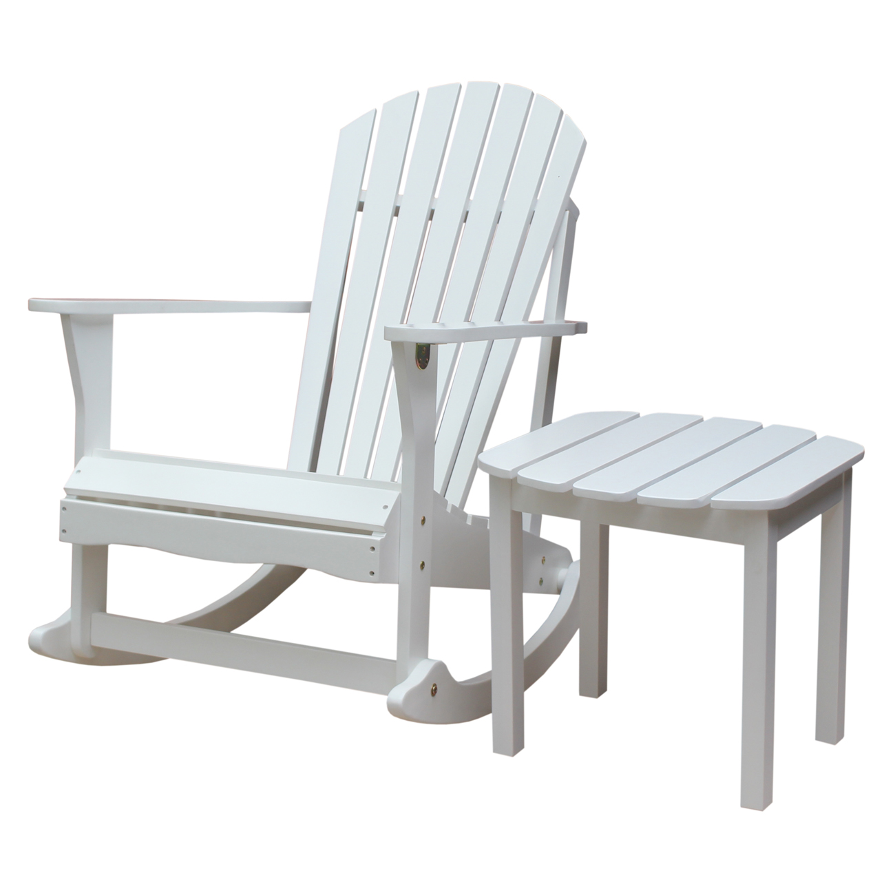 Adirondack Rocker and Side Table in White