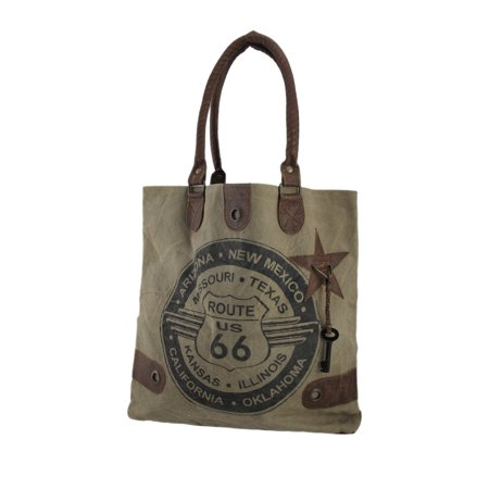 Route 66 Messenger (Route 66 Vintage Wash Canvas and Leather Tote Bag)