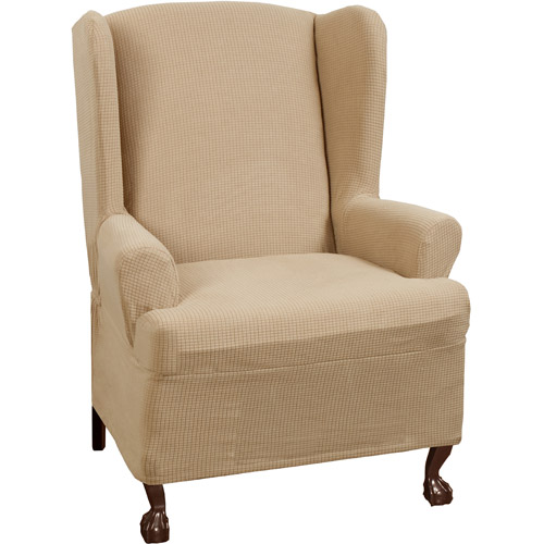 Maytex Stretch Reeves 1 Piece Wing Chair Furniture Cover Slipcover