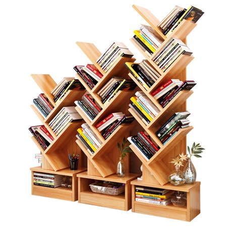 5 Column Bin Display (Tree Bookshelf Compact Book Rack Bookcase Display Storage Furniture for CDs, Movies & Books (5 Shelf) )