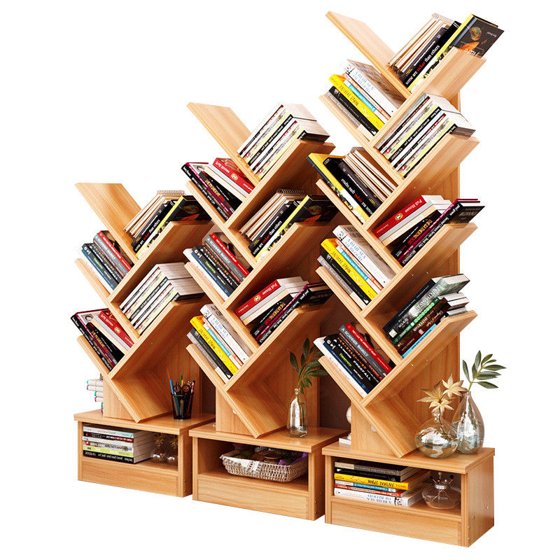 Tree Bookshelf Compact Book Rack Bookcase Display Storage Furniture for CDs, Movies & Books (5 Shelf)