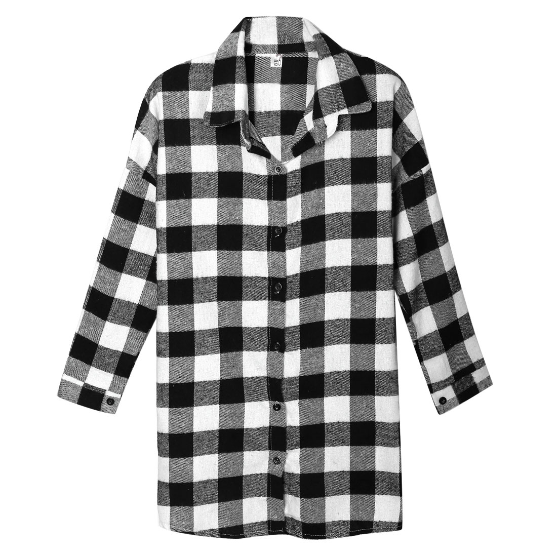 Women's Checks Batwing Sleeves Button Down Loose Fit Tunic Shirt Black White (Size M / 8)