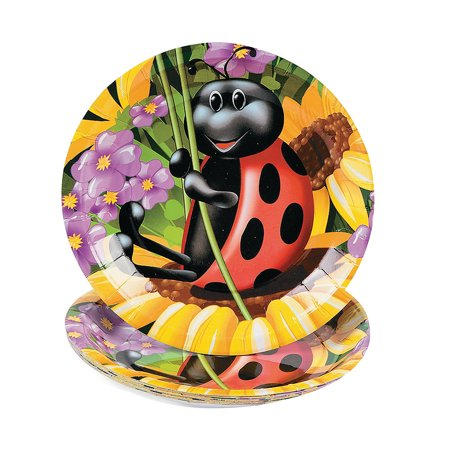 Fun Express - Ladybug Dessert Plate (8pc) for Birthday - Party Supplies - Print Tableware - Print Plates & Bowls - Birthday - 8 Pieces - Party Plates And Bowls