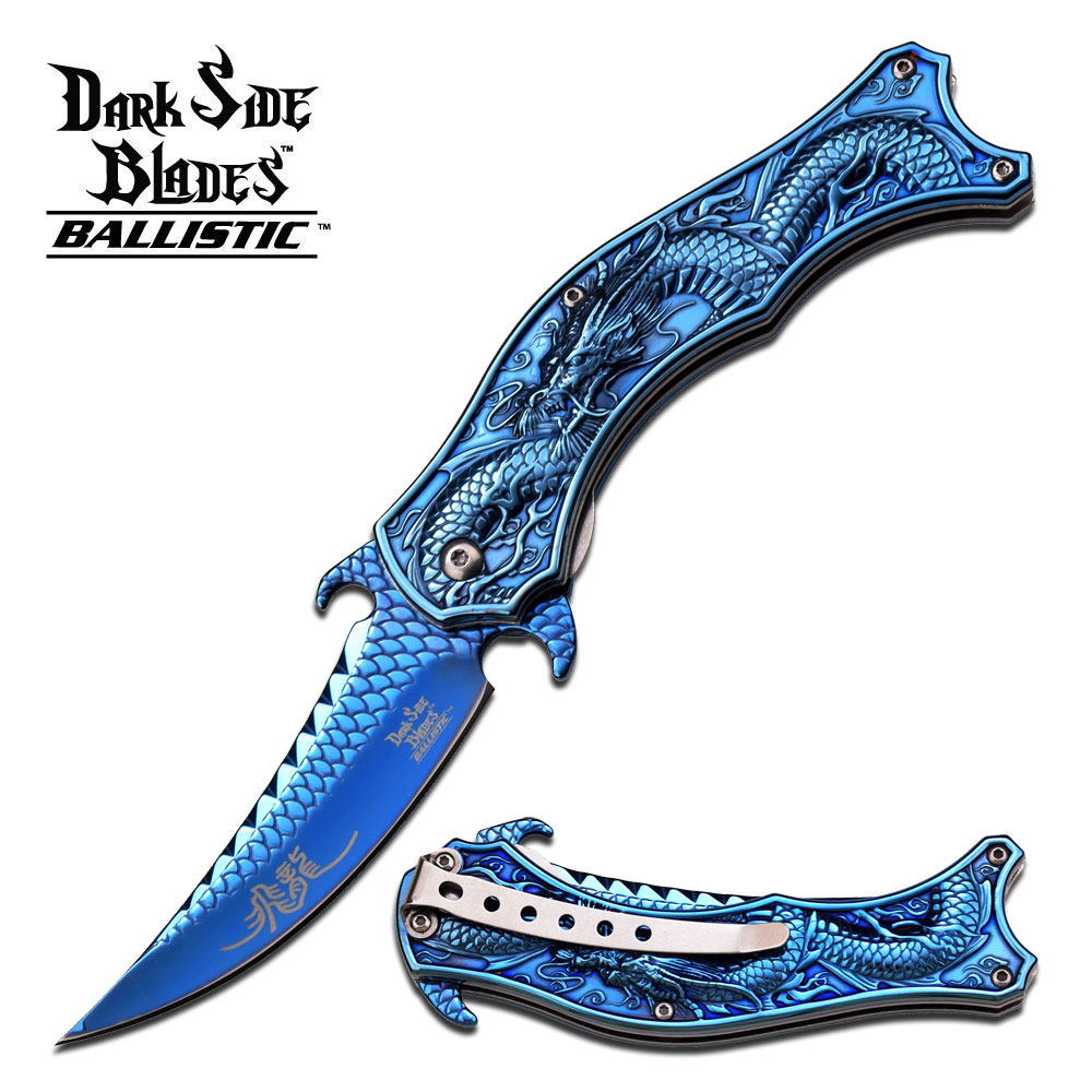 Dark Side Blades Blue Assisted Opening Stainless Steel Dragon Knife DS-A019BL