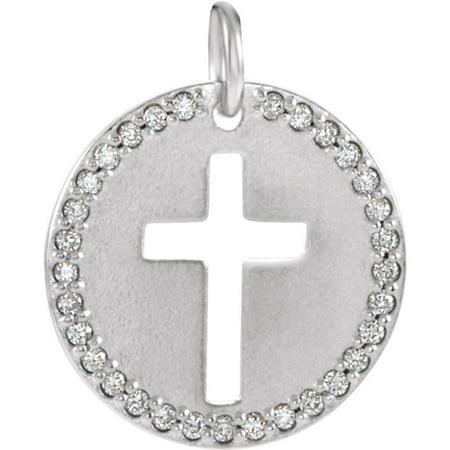 Roy Rose Jewelry 14K White Gold .08-Carat tw Diamond Pierced Cross Disc Pendant Diamond Disc Pendant