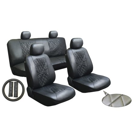Unique Imports Black 11 Piece Luxury Diamond Stitched Leatherette Car Truck Suv Seat And Steering Wheel Covers Set