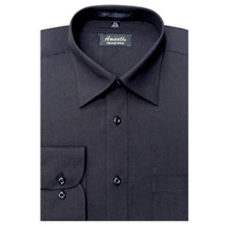 Image of Amanti CL1002-15x34/35 Amanti Men;s Wrinkle Free Solid Black Dress Shirt