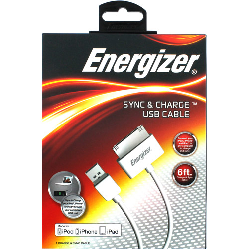 Energizer 6' Apple iPad/iPhone/iPod Sync Cable, White