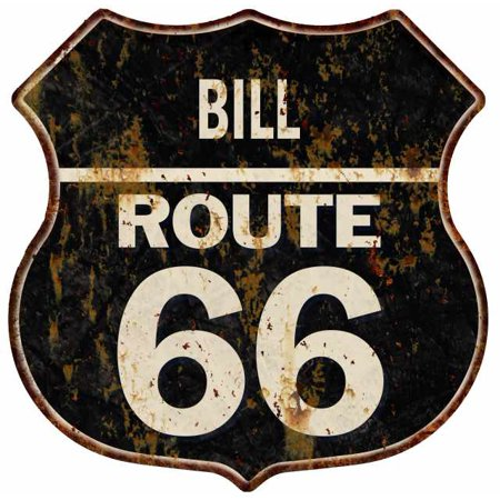 BILL Route 66 Personalized Shield Metal Sign Man Cave Gift 211110004041