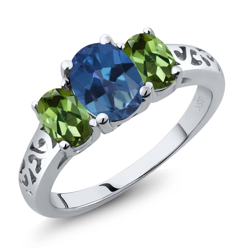 2.30 Ct Oval Royal Blue Mystic Topaz Green Tourmaline 925 Silver Ring by