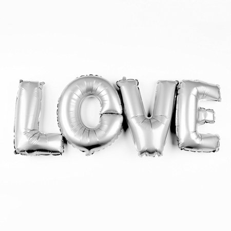 Non-Floating Love Letters Balloons Party Decorations Wedding Engagement Valentine's, 13 Inch (Silver)