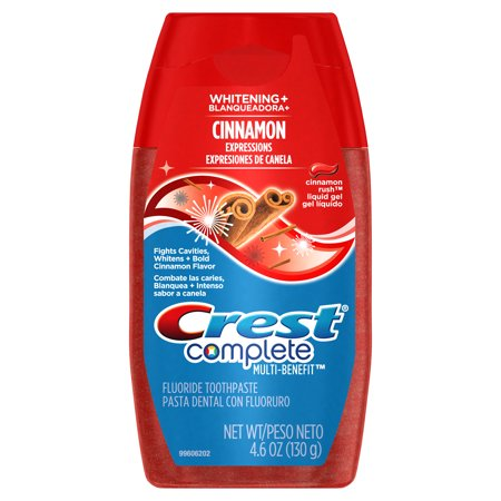 Crest Complete Whitening + Cinnamon Expressions Liquid Gel Toothpaste, Cinnamon Rush, 4.6 ounce Purpose Gel Toothpaste