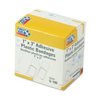 """First Aid Only Plastic Adhesive Bandages, 1"""" x 3"""", 100/Box"""