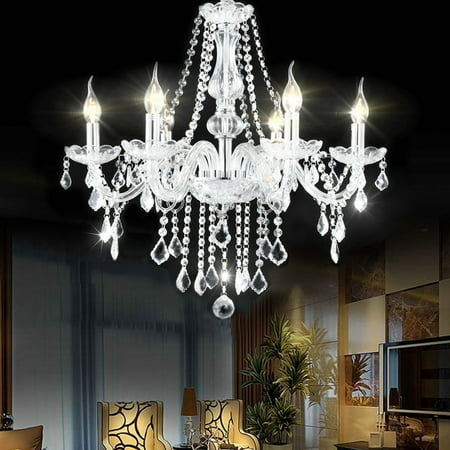 Costway Elegant Crystal Chandelier Modern 6 Ceiling Light Lamp Pendant Fixture - Ceiling Heat Lamp