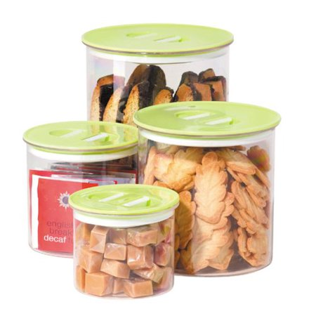 - Stack 'N Store 4 Piece Canister Set, Green, 4 Piece Stack n' Store acrylic canister set By Oggi