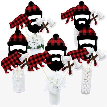 Lumberjack Party (Lumberjack - Channel The Flannel - Buffalo Plaid Party Centerpiece Sticks - Table Toppers - Set of)
