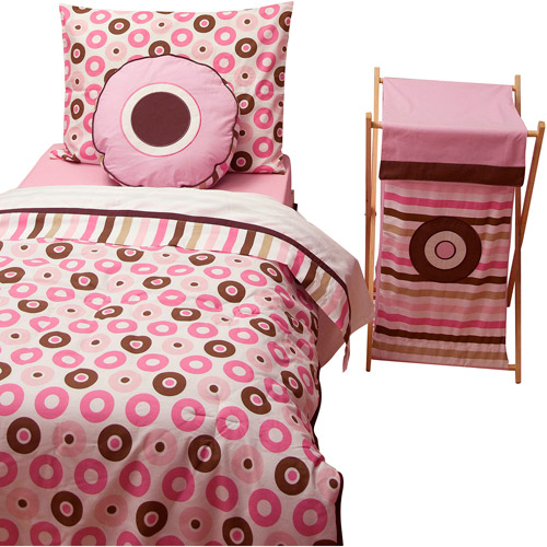Bacati Mod Dots/Stripes 4pc Toddler Bedding set 100% Cotton percale,  Pk/Chocolate