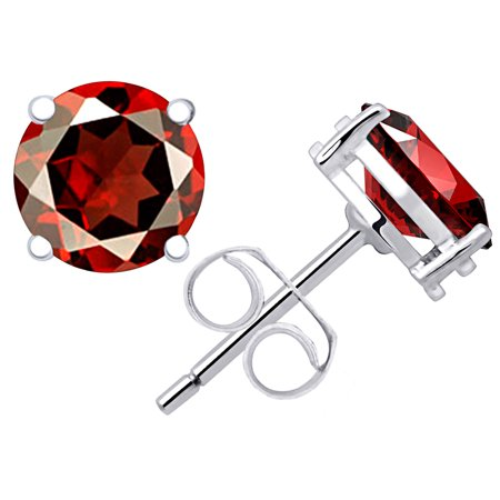 Orchid Jewelry 925 Sterling Silver Genuine Garnet  Round Stud Earrings