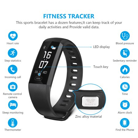 Ip67 Waterproof Fitness Tracker Smart Watch Bracelet Band Heart Rate Monitor For Android Iphone   Black