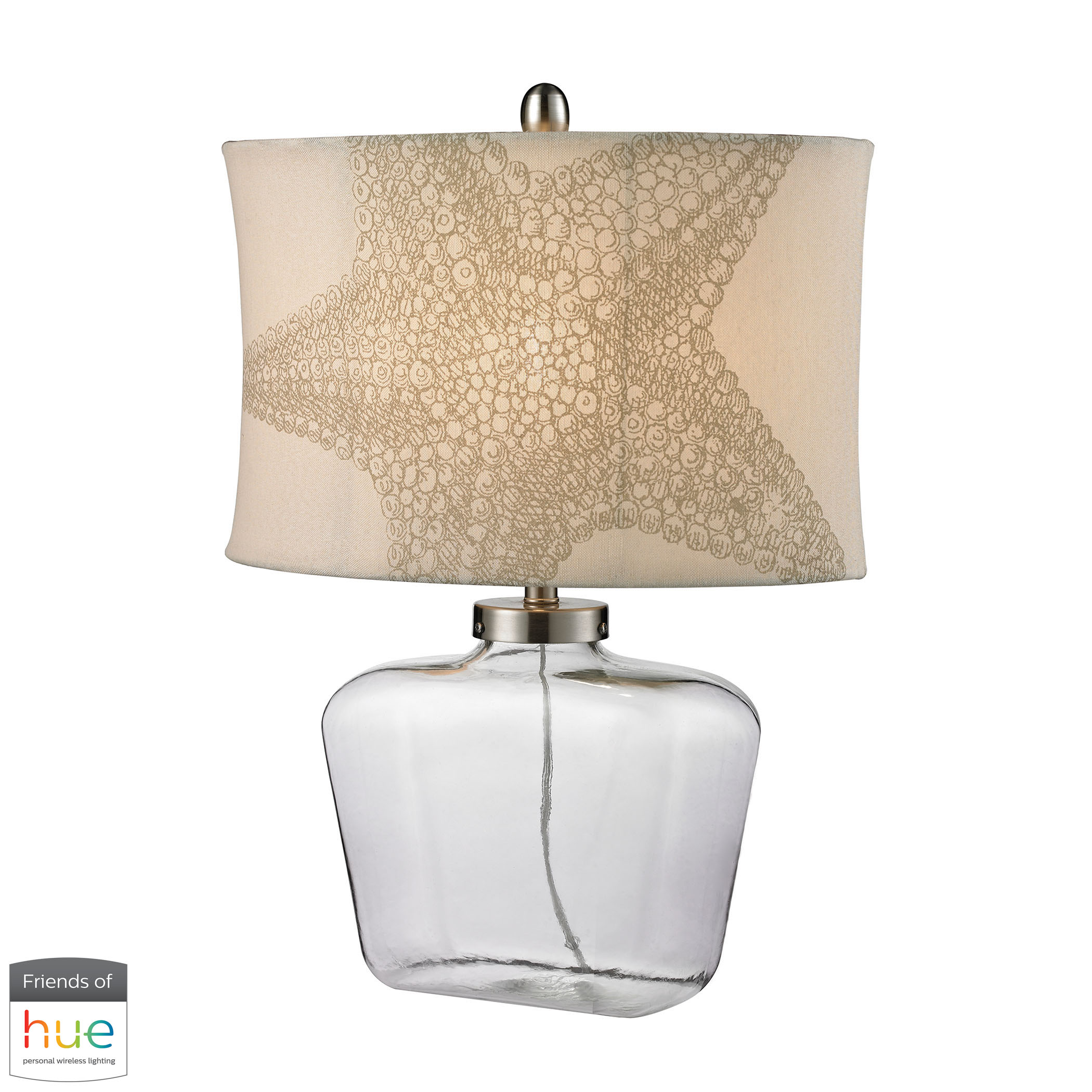 Clear Glass Bottle Table Lamp in Polished Nickel- Philips Hue LED Bulb/Dimmer
