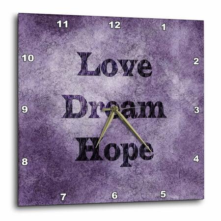 - 3dRose Purple Love, Dream, Hope - Zebra Print Word Art, Wall Clock, 10 by 10-inch