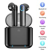 Bluetooth 5.0 True Wireless Stereo Earbuds Headphones Sports/Driving/Gym In-Ear Earphones Headsets with Charging Case Noise Cancelling and Built-in Mic Sweatproof Earpiece for iPhone Android Laptop
