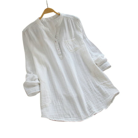 various colors 100% top quality casual shoes WODSTYLE LLC - Women V Neck Baggy Loose Cotton Tops T Shirts ...