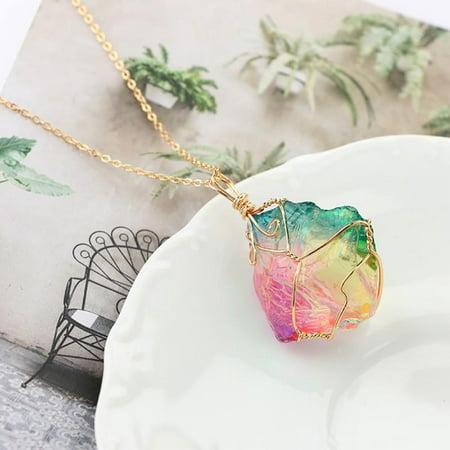 1PC Necklace  Chakra Rock Nature Crystal Quartz Pendant Rainbow Stone Jewelry