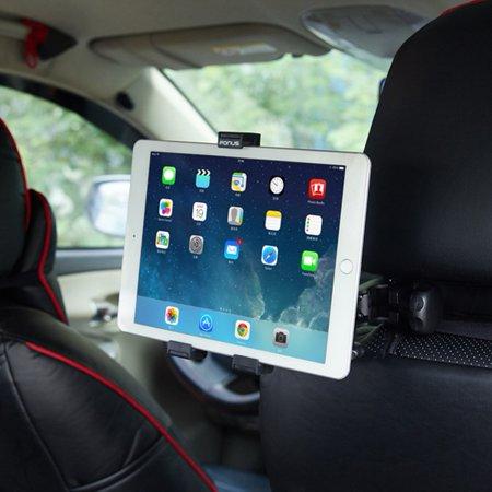 Premium Car Headrest Mount Tablet Holder Rotating Cradle Back Seat Dock Strong Grip [Black] B9D Compatible With Samsung Galaxy J7 (2018) Refine Tab 3 8.0 7.0 2 7 10.1 GT-P5210 J3 (2018) Alpha (Samsung Tablet Case Model Gtp3113)
